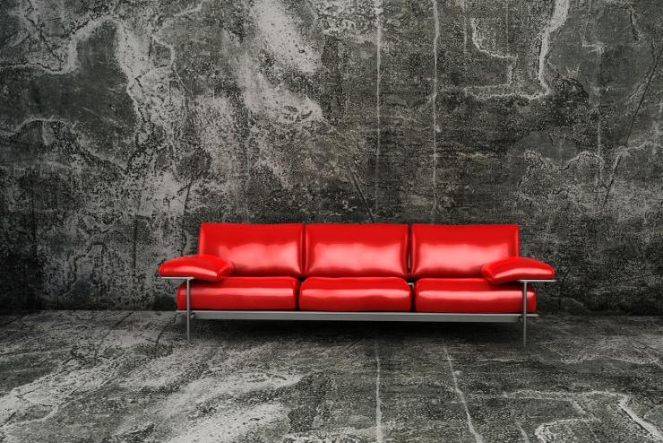 Auch schick - ein Ledersofa in Rot. (Bild: © CenturionStudio_it - Fotolia.com)